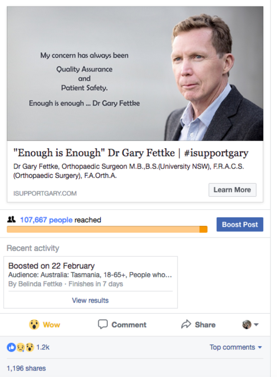 Reach For Post About Gary Leaving
