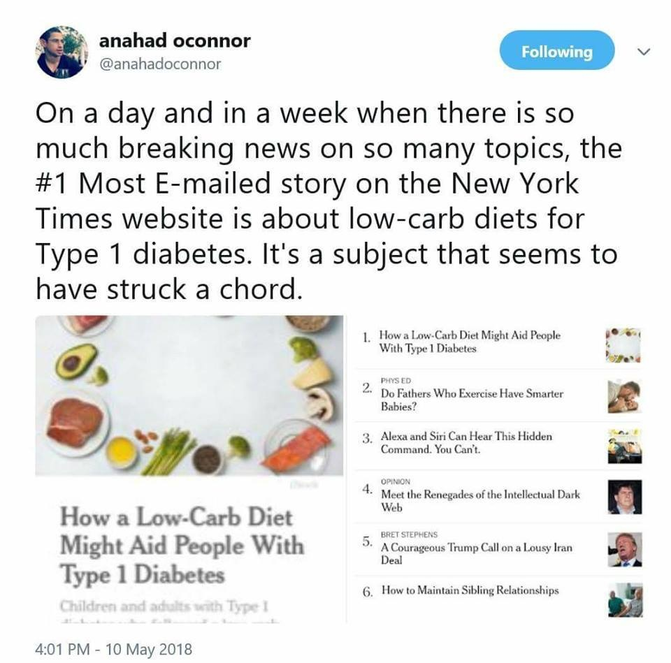Anahad Oconnor New York Times Tweet Low Carb Type1 Diabetes Results