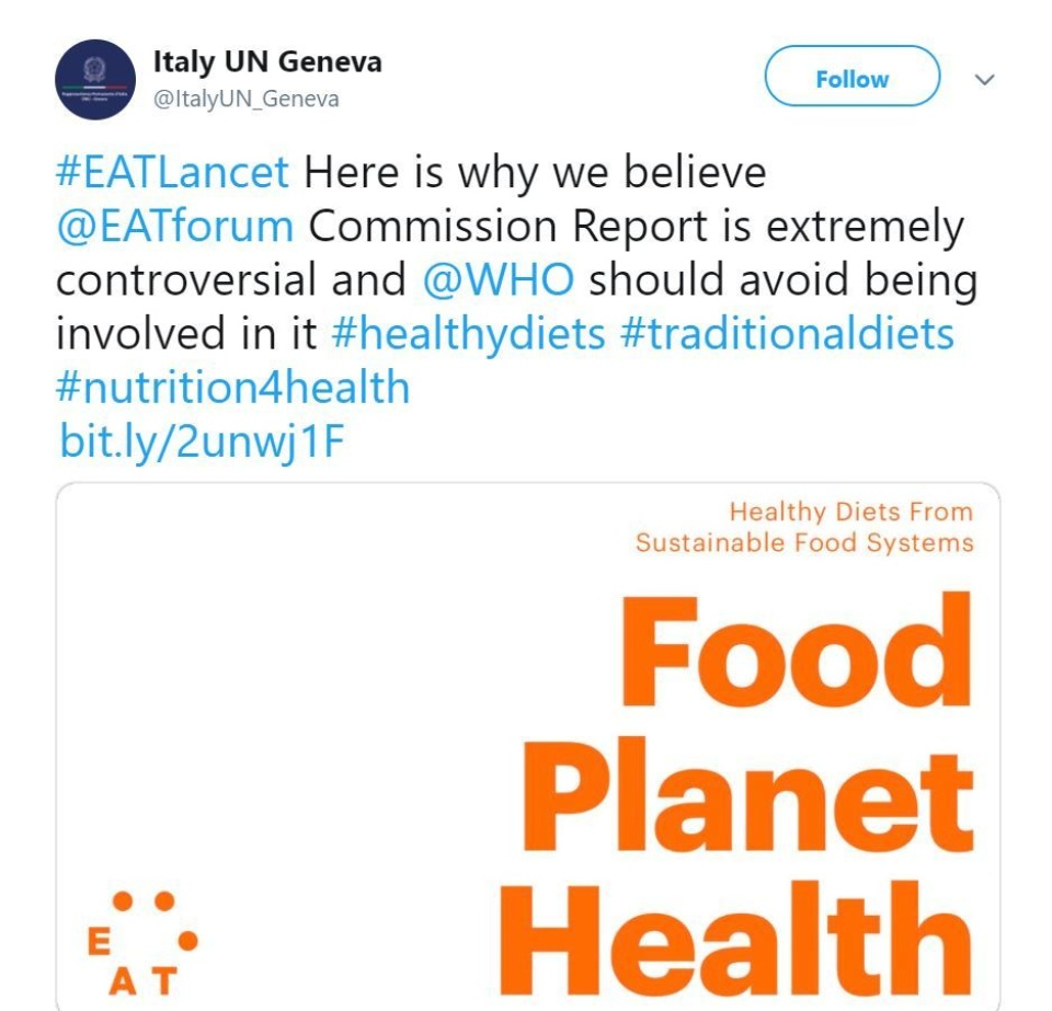 Un Italy Geneva Withdraws Support For Eat Lancet
